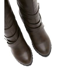 Forever 21 Gray Faux Leather Knee-high Boots