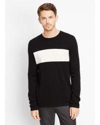 Vince Black Wool Cashmere Block Stripe Crew Neck Sweater for men
