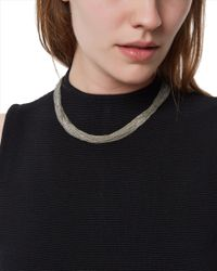 Jaeger - Metallic Delicate Row Necklace - Lyst