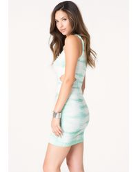 Bebe Blue Textured Tie Dye Tank Dress