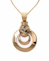Effy Metallic Diamond Emerald And 14k Rose Gold Panther Pendant