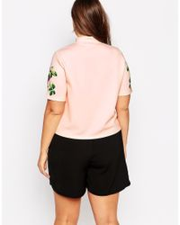 ASOS - Multicolor High Neck Top With Floral Placement Print - Lyst