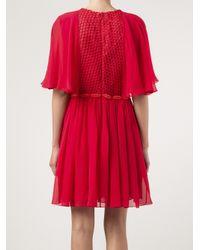 Giambattista Valli Red Mesh Lips Dress