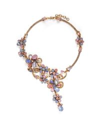 Erickson Beamon - Multicolor 'botanical Garden' Swarovski Crystal Floral Necklace - Lyst