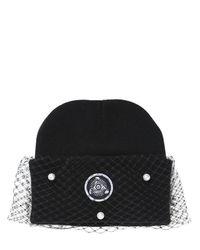 Silver Spoon Attire Black Pearl Mesh Veil Beanie Hat
