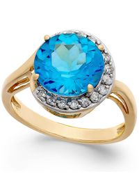 Macy's | Blue Topaz (4-1/2 Ct. T.w.) And Diamond (1/5 Ct. T.w.) Ring In 14k Gold | Lyst
