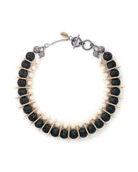 Venna | Multicolor Chain Link Pearl Pavé Collar Necklace | Lyst