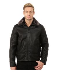 Marc New York | Black Kane Faux Shearling Aviator Jacket for Men | Lyst