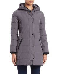 Guess   Gray Faux Fur-trimmed Parka   Lyst