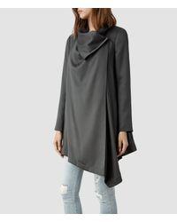 AllSaints Gray Aiko Monument Coat