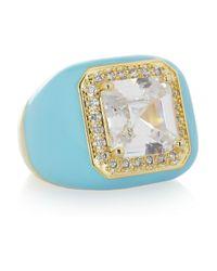 Kenneth Jay Lane - Blue Enameled 18karat Goldplated Cubic Zirconia Ring - Lyst