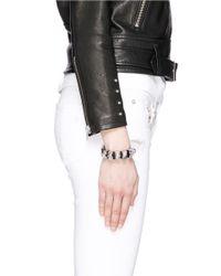 Alexander McQueen | Black Skull And Crystal Metal Loop Leather Bracelet | Lyst