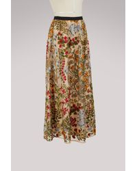 RED Valentino - Multicolor Embroidered Flower Skirt - Lyst