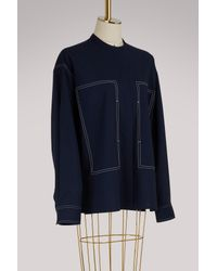 Ports 1961 Blue Long Sleeves Wool Shirt