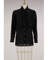 Gucci - Black Silk Shirt With Garden Print - Lyst