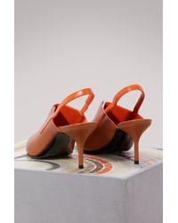 Pierre Hardy Orange Calf Secret Sling Sandals