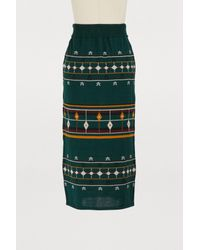 Maison Père Green Star Print Skirt