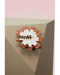 Marni - Multicolor Leather, Strass And Brass Brooch - Lyst