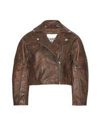 Ganni Brown Leather Jacket