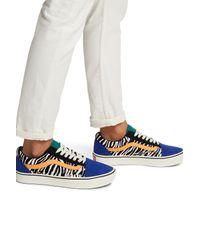 Old skool zebre Caoutchouc Vans en coloris Bleu - Lyst