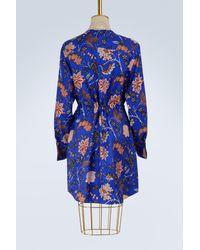 Diane von Furstenberg Blue Silk Cinched Waist Dress