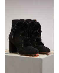 Chloé - Black Graphic Leaves Ankle Boots - Lyst