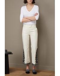 Tory Burch - White Cotton Embroidered Pants - Lyst