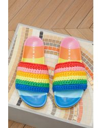 MIRA MIKATI Blue Leather Sandals With Rainbow Mesh