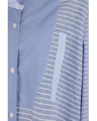 Loewe - Blue Asymmetrical Patchwork Shirt - Lyst