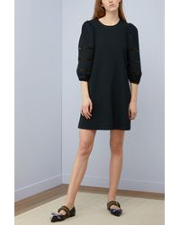 See By Chloé Black Perforated Sleeve Short Dress