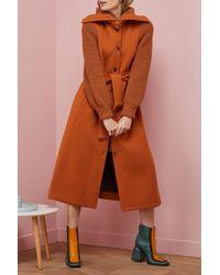 Chloé - Brown Wool Coat Knit Sleeves - Lyst