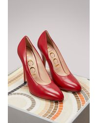 01d1cb37445b Lyst - Gucci Patent Leather Pumps in Red