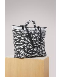 Miu Miu - Black Denim Shopper Bag - Lyst