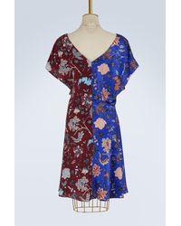 Diane von Furstenberg Blue Silk Draped Dress