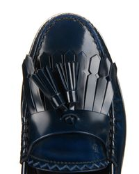 Tod's Blue Cuoio Tassel Leather Loafers