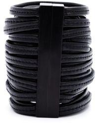Monies | Black Leather Band Cuff | Lyst