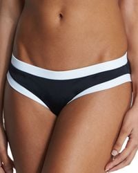 MILLY - Black Amalfi Surfer Girl Colorblock Hipster Swim Bottom - Lyst
