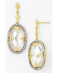 Freida Rothman - Metallic 'metropolitan' Drop Earrings - Clear/ Gold - Lyst