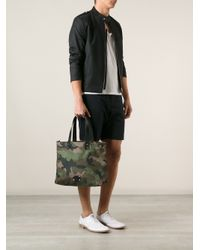 Valentino - Green Camouflage Print Tote for Men - Lyst