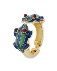 Kenneth Jay Lane   Green And Blue Stripes Frog Bracelet   Lyst