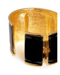 Kenneth Jay Lane - Black Enamel And Crystal Cuff - Lyst