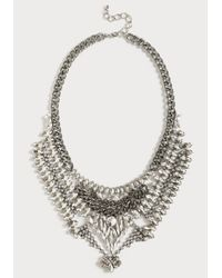 Bebe | Metallic Crystal Bib Necklace | Lyst