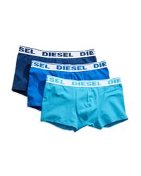 DIESEL - Blue Stretch Cotton Trunks, 3-pack for Men - Lyst