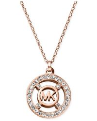 Michael Kors - Pink Crystal Logo Pendant Necklace - A Macy'S Exclusive - Lyst