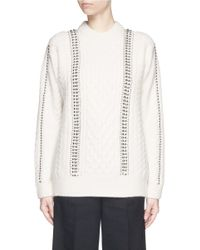 Alexander Wang White Hand Crochet Ball Chain Lambswool Sweater