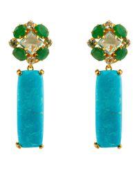 Bounkit | Green Emerald, Turquoise, Blue Quartz, & Blue Topaz Drops | Lyst