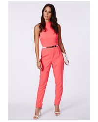Missguided | Pink Tiffney Coral High Neck Jumpsuit | Lyst