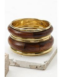 Forever 21 | Metallic Faux Wood Bangles Set You've Been Added To The Waitlist | Lyst