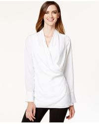 Calvin Klein | White Crossover Hardware Tunic Blouse | Lyst