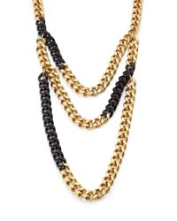 Michael Kors - Metallic PavÉ Two-Tone Multi-Row Chain Necklace - Lyst
